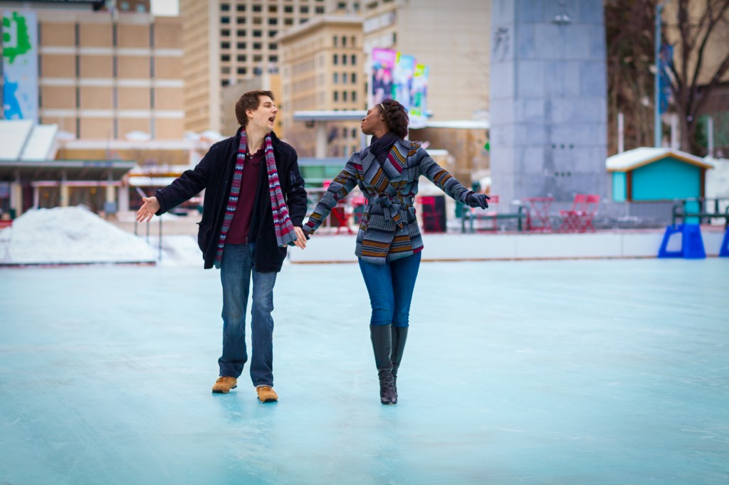 Edmonton Downtown Engagement Photos - engagement photos at city hall