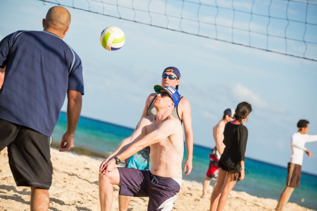 Groom Playing Volleyball