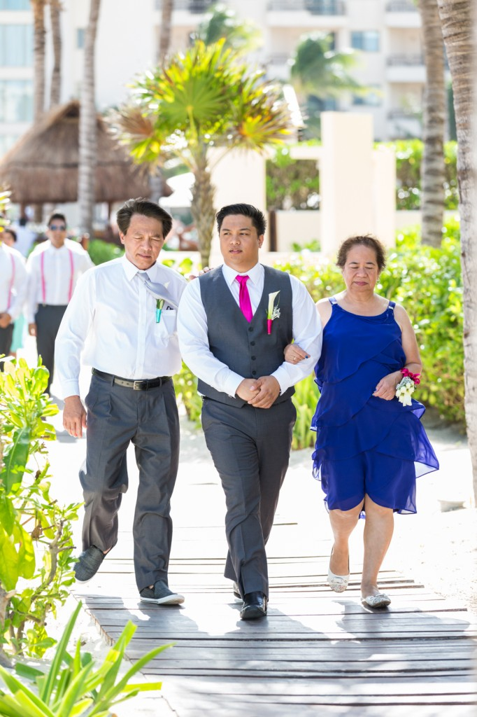 Dreams Cancun Destination Wedding - Wedding Ceremony Walking In