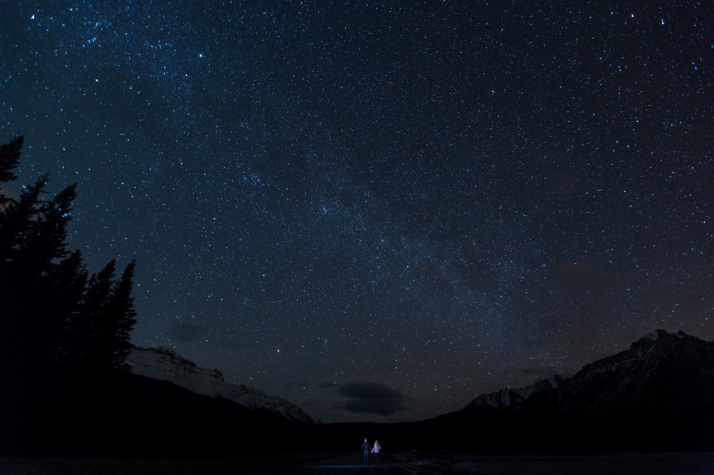 Banff Engagement Photos at Night