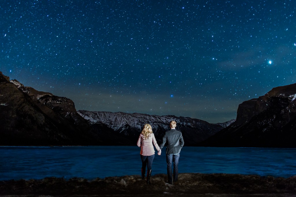 Banff Night Engagement Photos