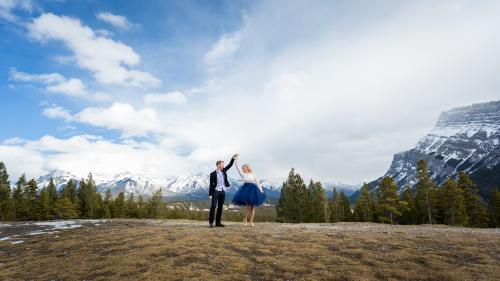 Tunnel Mountain Spring Engagement Photos