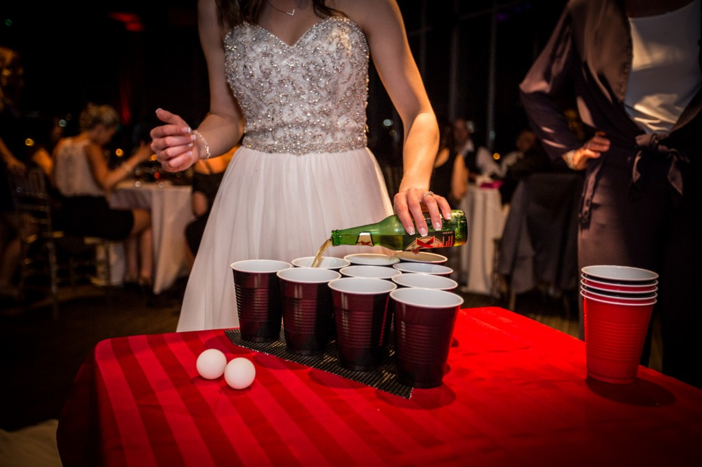 Bride Playing Beer Pong