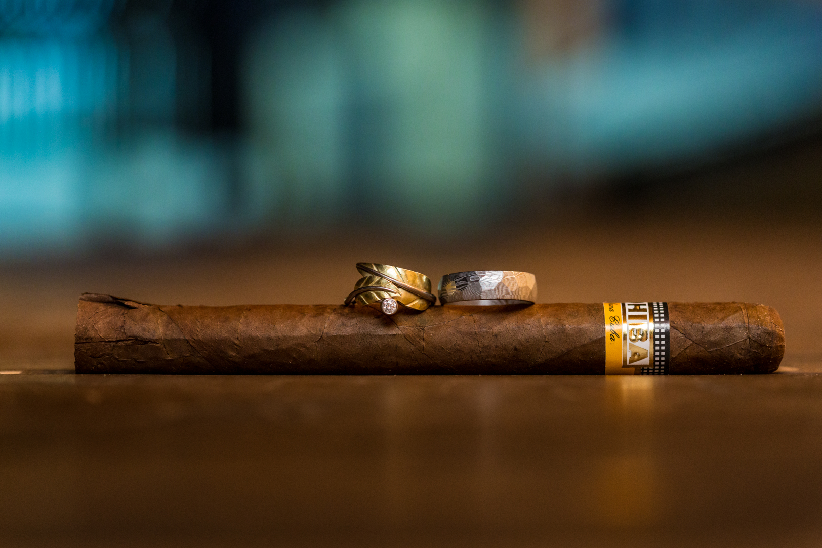 Wedding Rings with Cigars