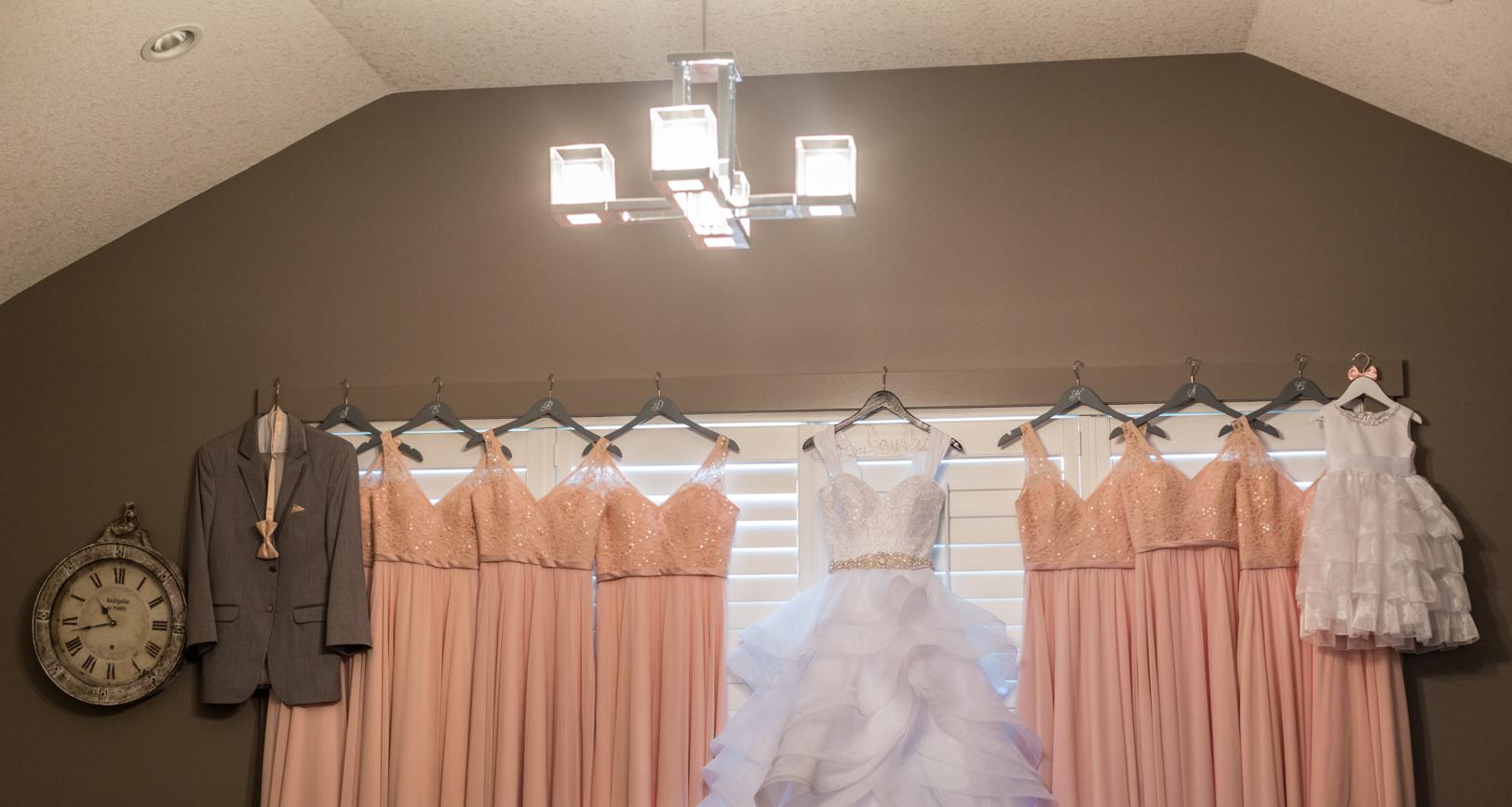 Photo of Wedding Dress and Bridesmaids Dresses