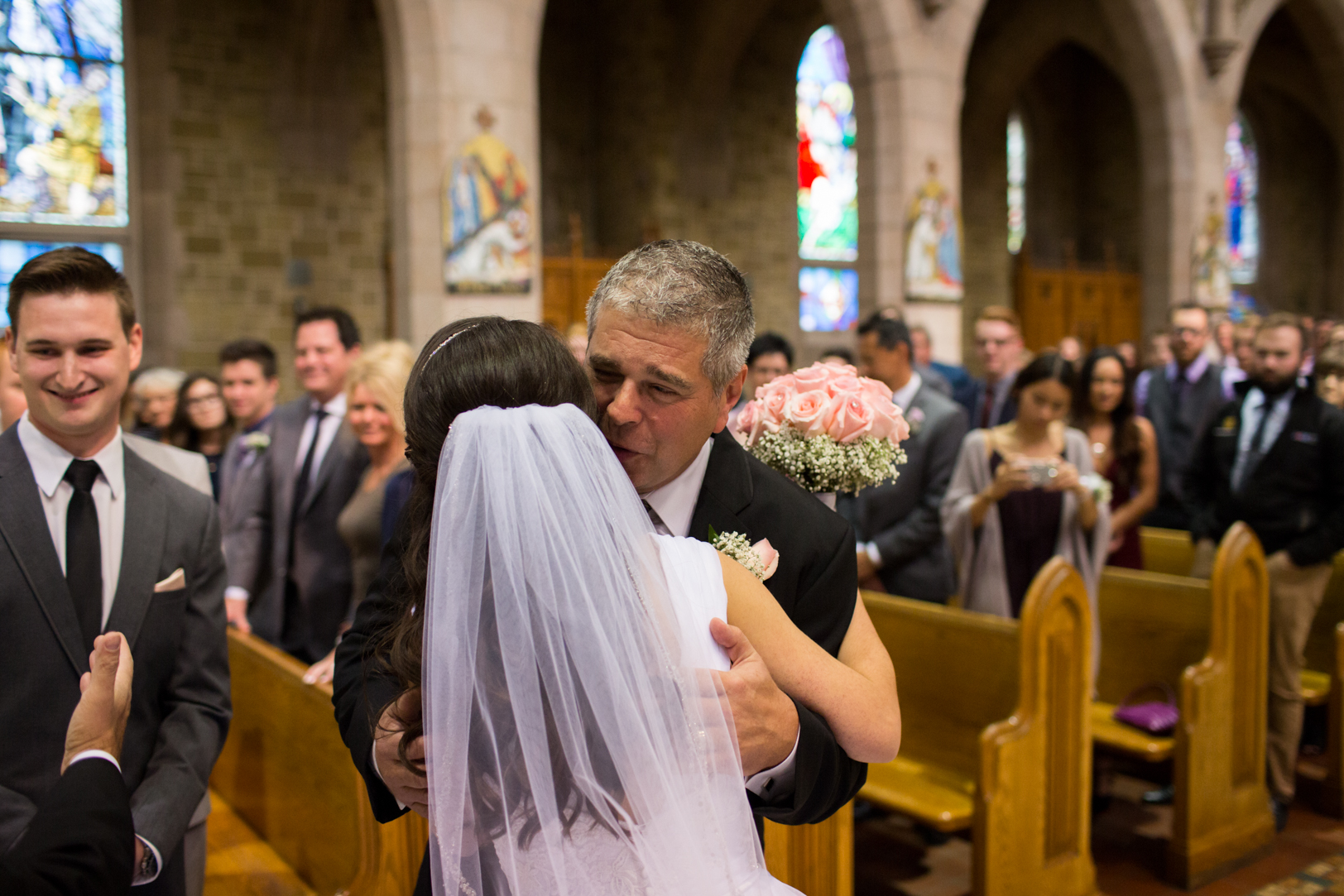 Elegant Edmonton Basilica Wedding - Father giving away daughter.
