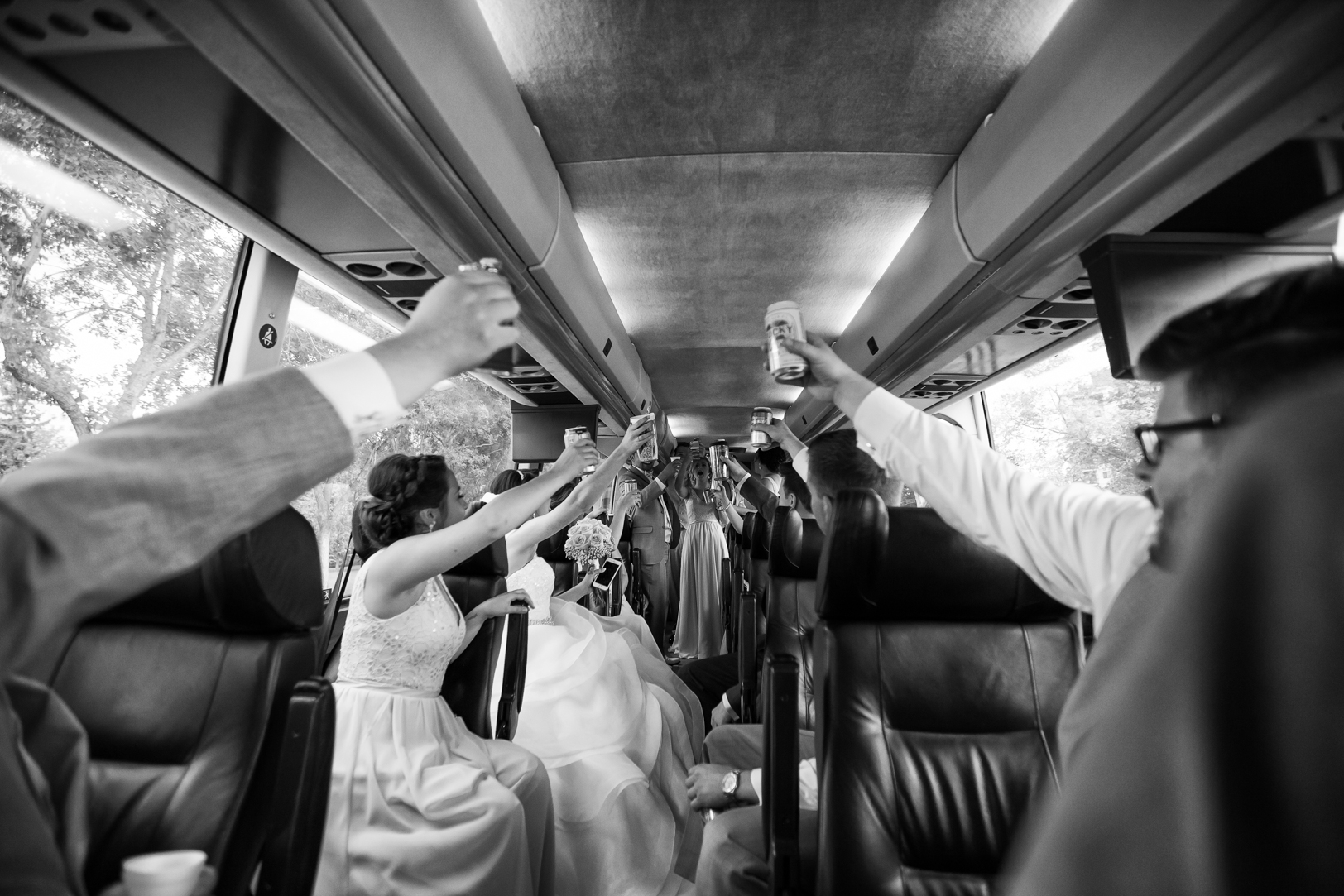 Wedding Party in Limo Bus