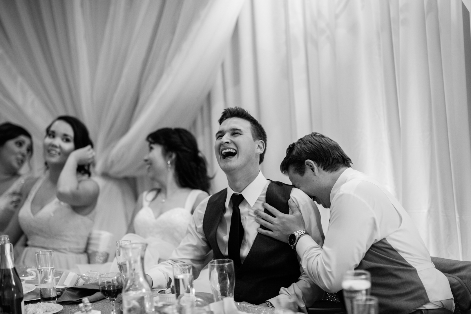 Photo of Groom During Speeches