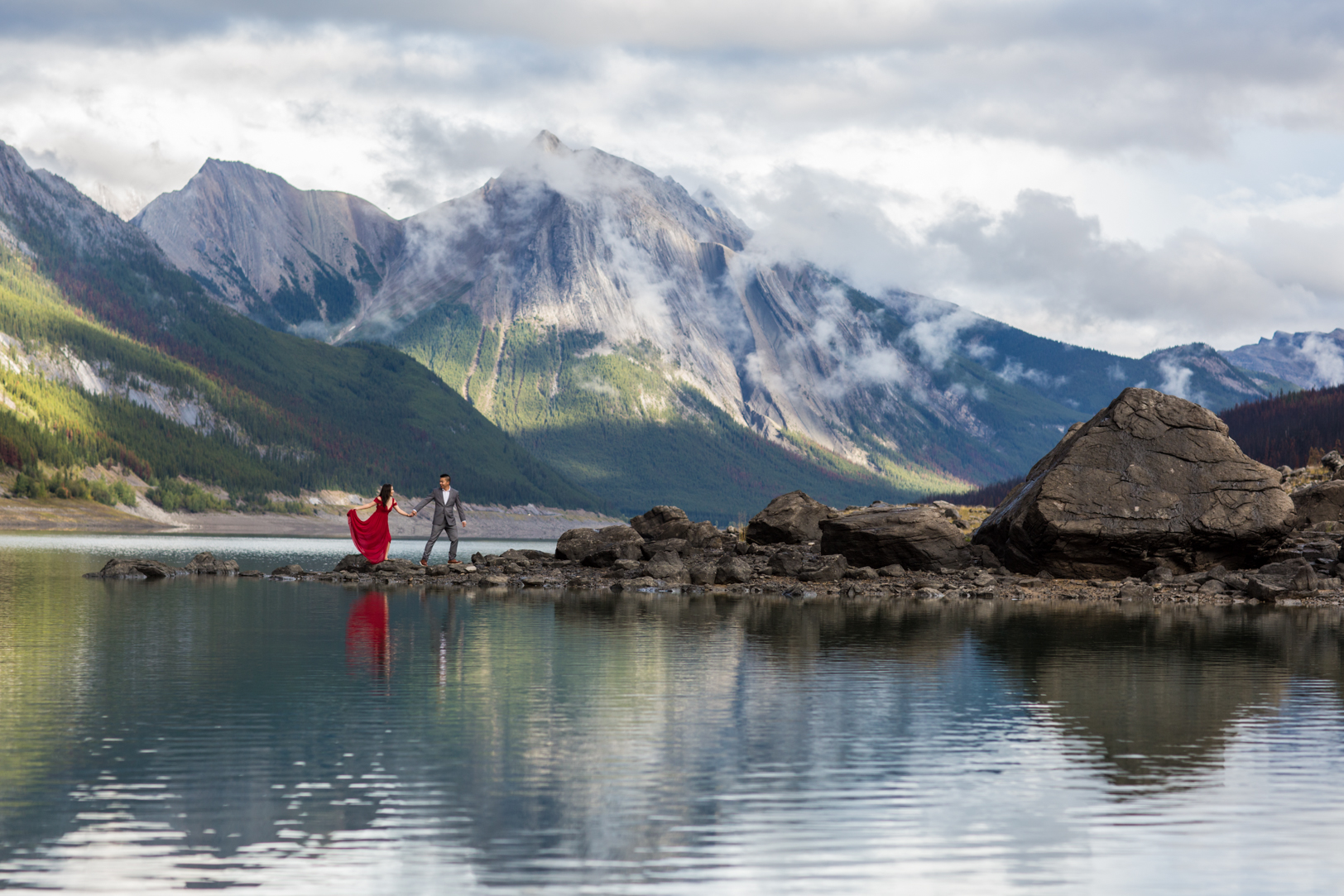 Epic Mountain Engagement Photos in Jasper