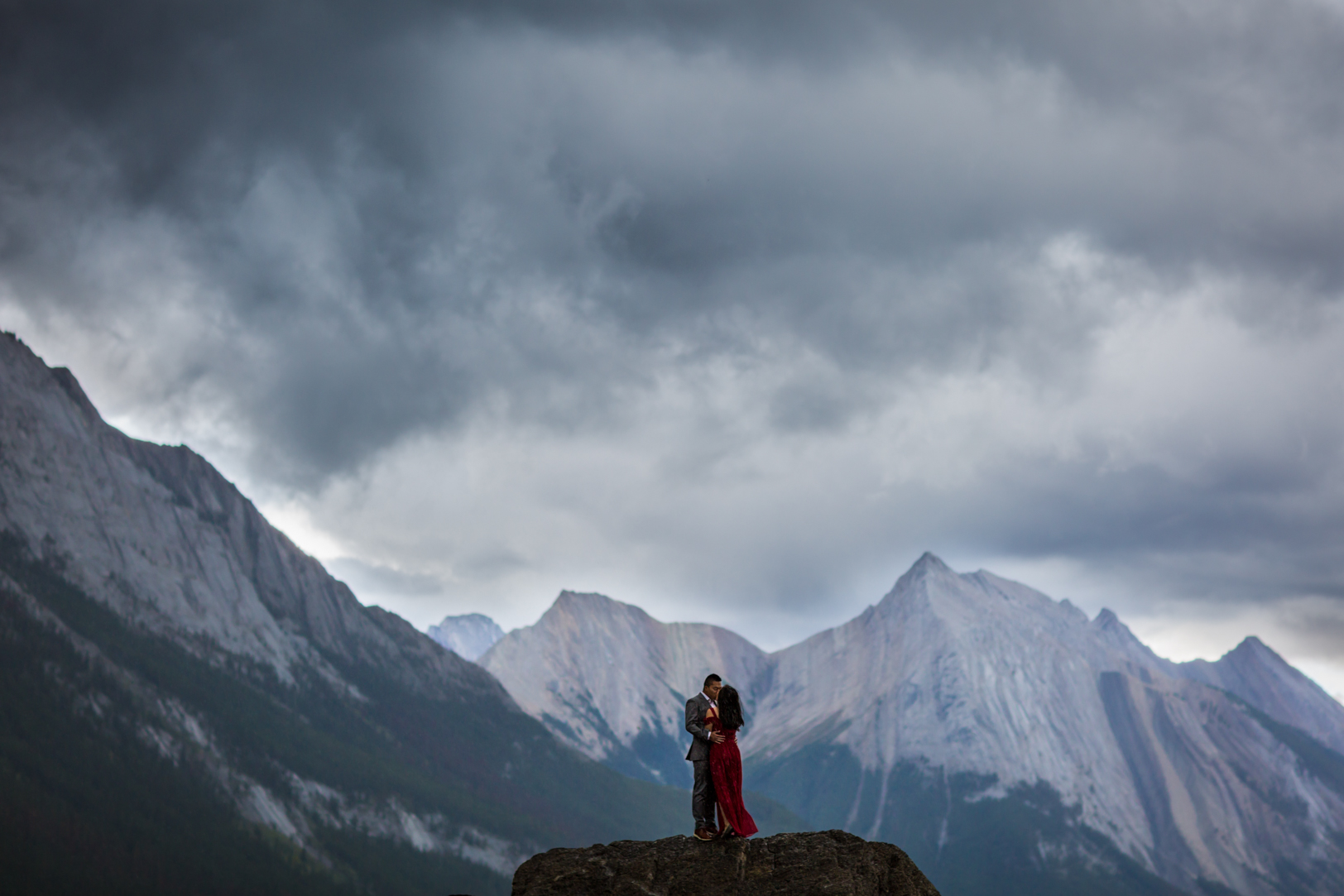 Dramatic Engagement Photos in the Mountains - Jasper Engagement Adventure Session