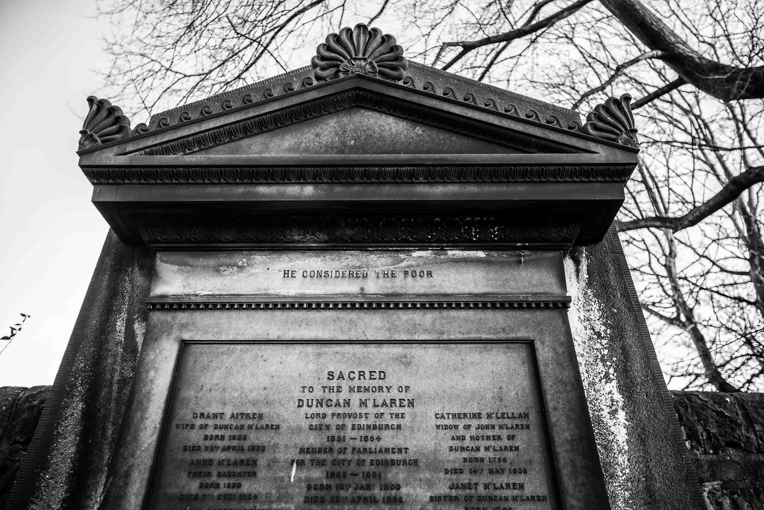 Picture Taken While Exploring Edinburgh - headstone in edinburgh