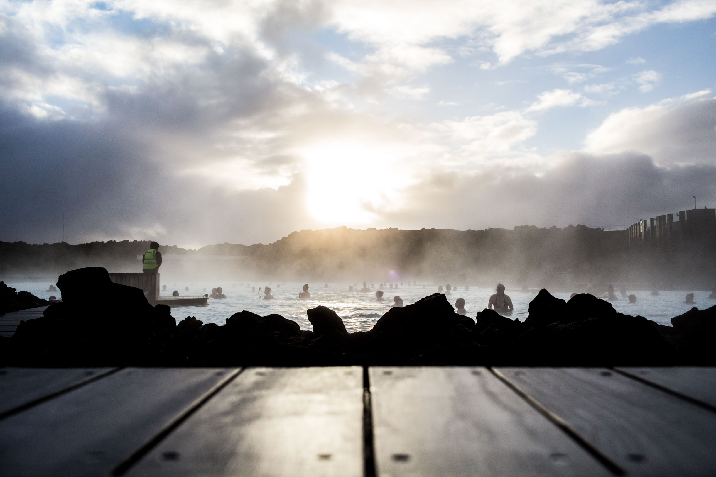 Blue lagoon iceland at sunset