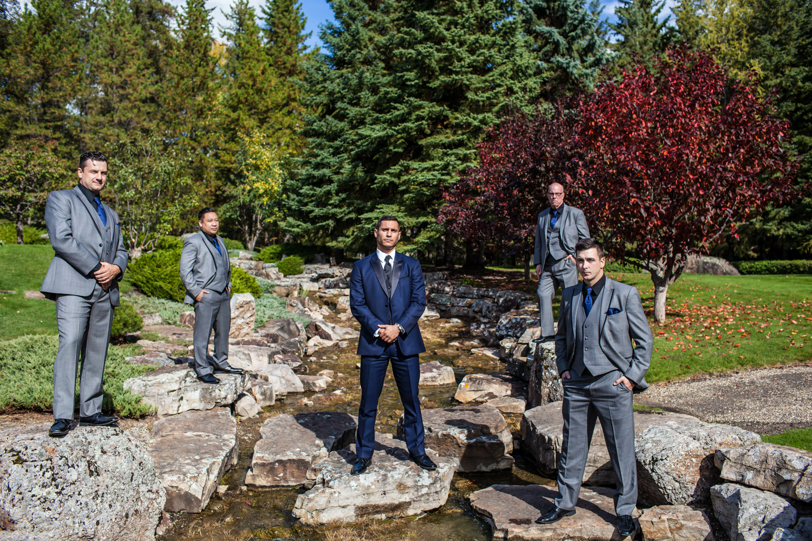 Devonian Botanic Gardens Wedding - creative goomsmen photos