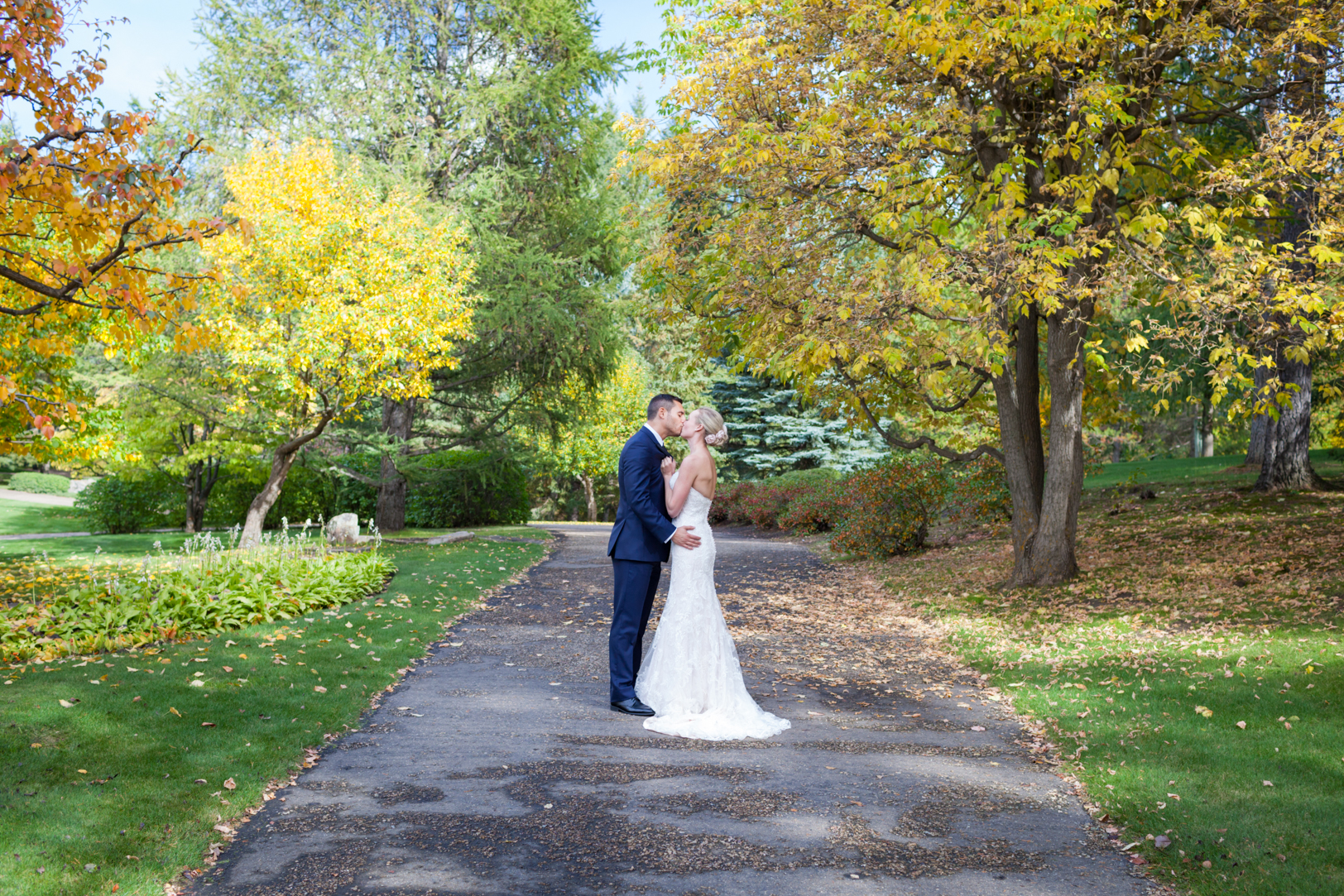 Bridal couple wedding portrait University of Alberta Botanic Garden