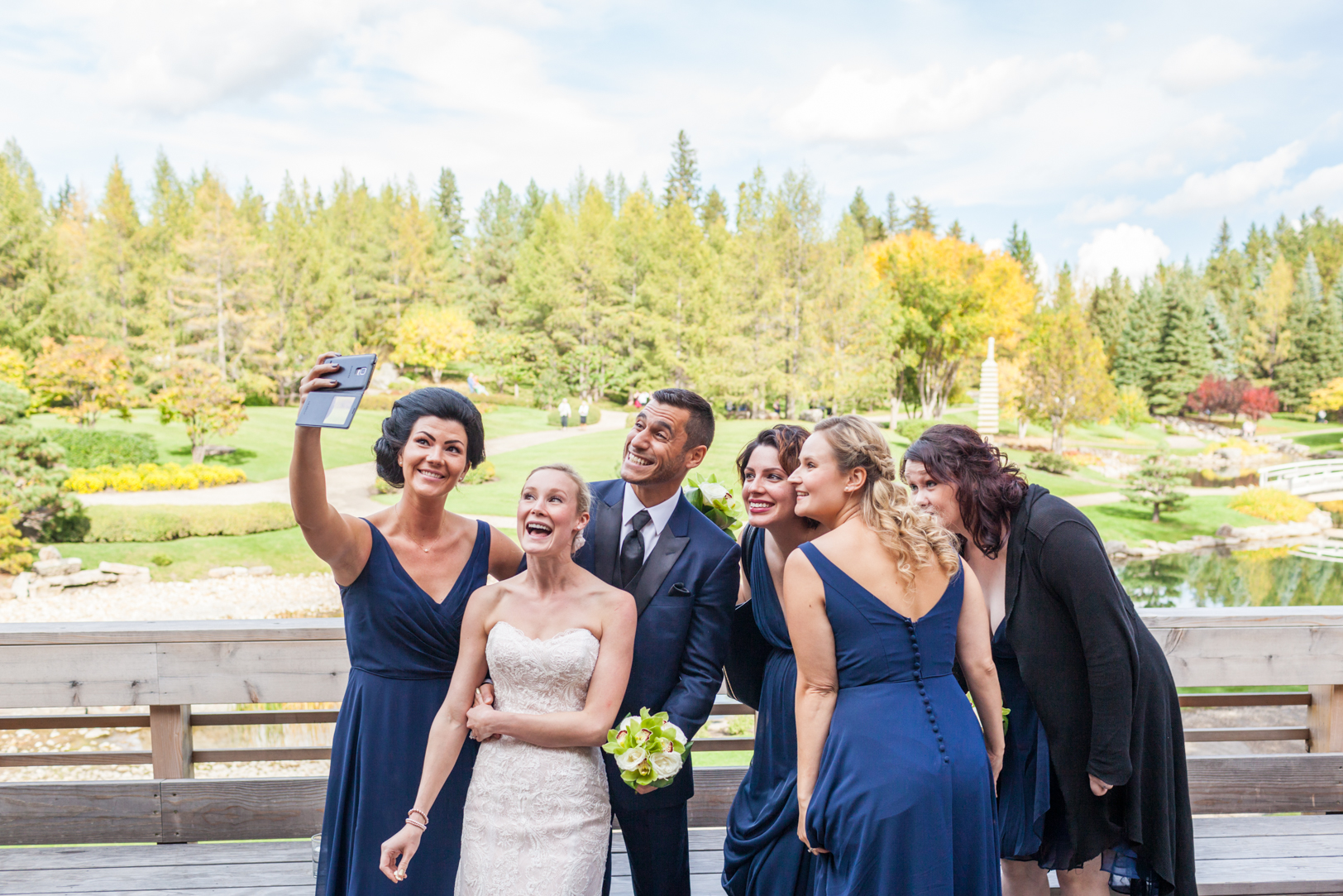 Devonian Botanic Gardens Wedding - fun wedding party photos