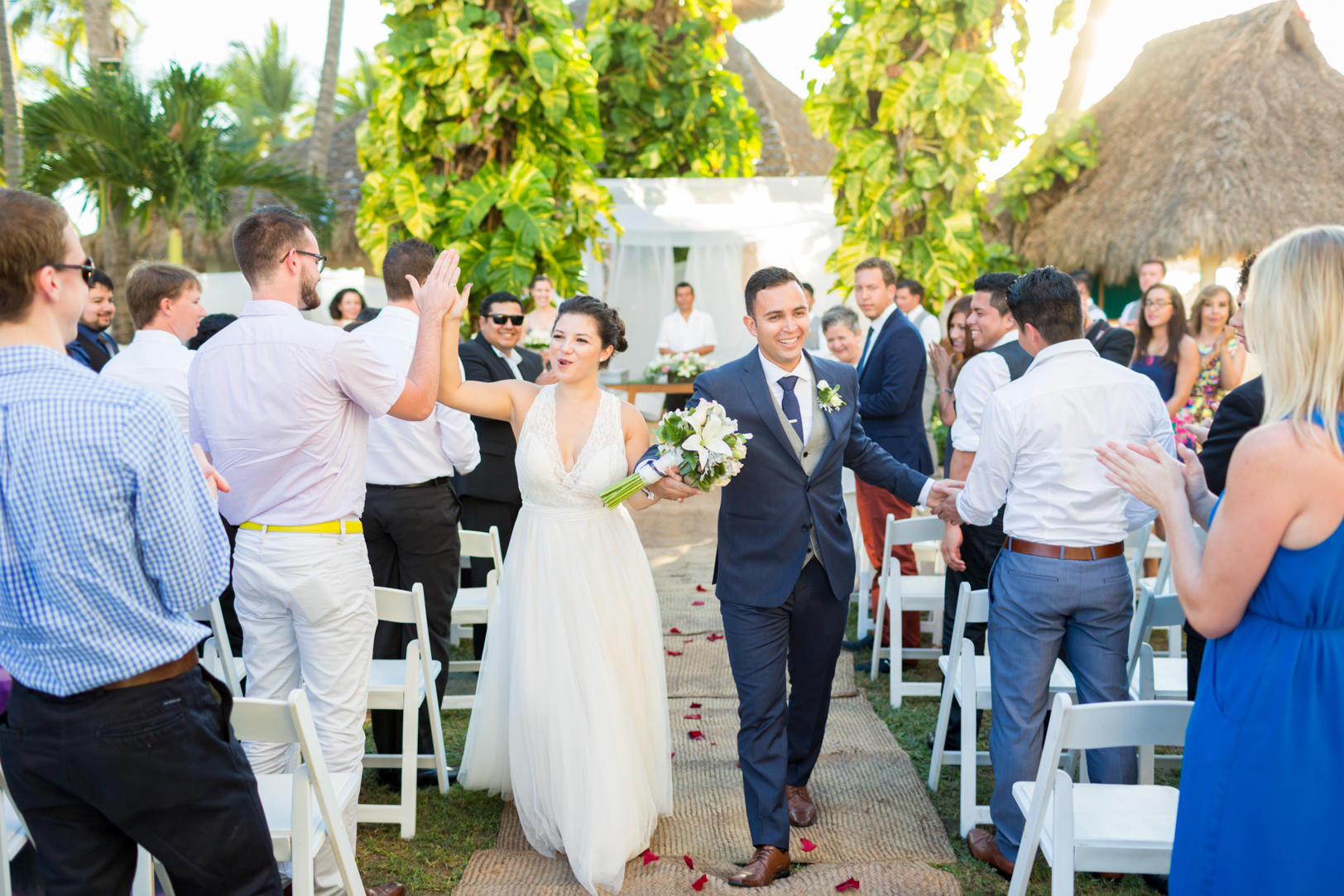 Bride and groom recessional after the wedding
