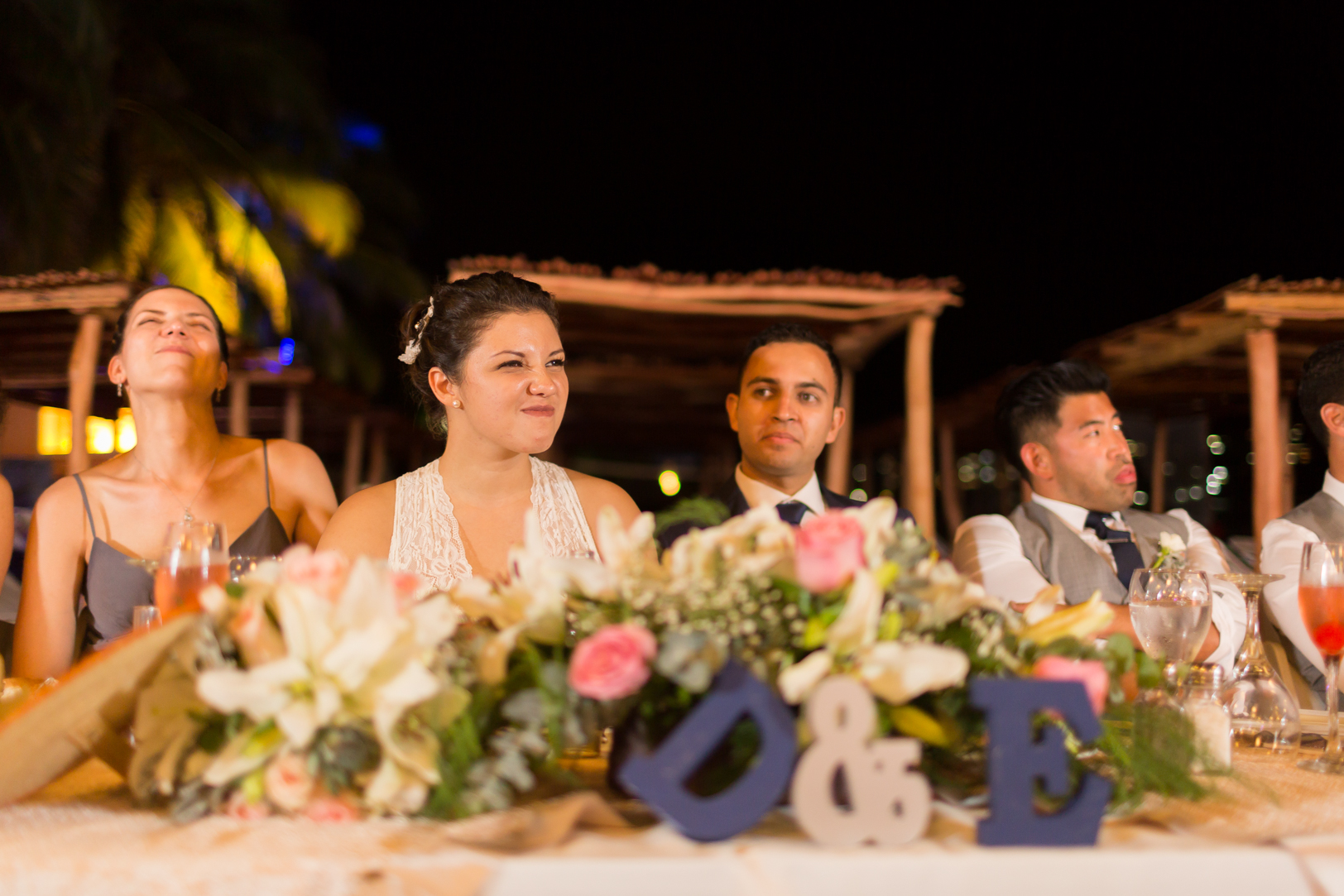 Funny faces during the speeches at Sunscape Dorado Pacifico Ixtapa destination wedding