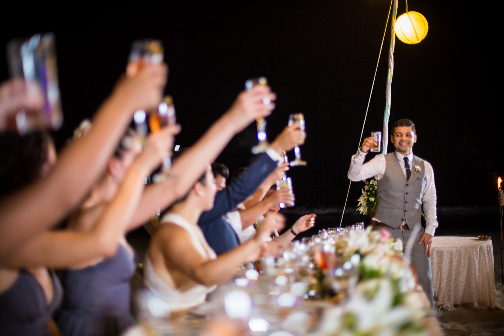 toast at the reception of a destination wedding