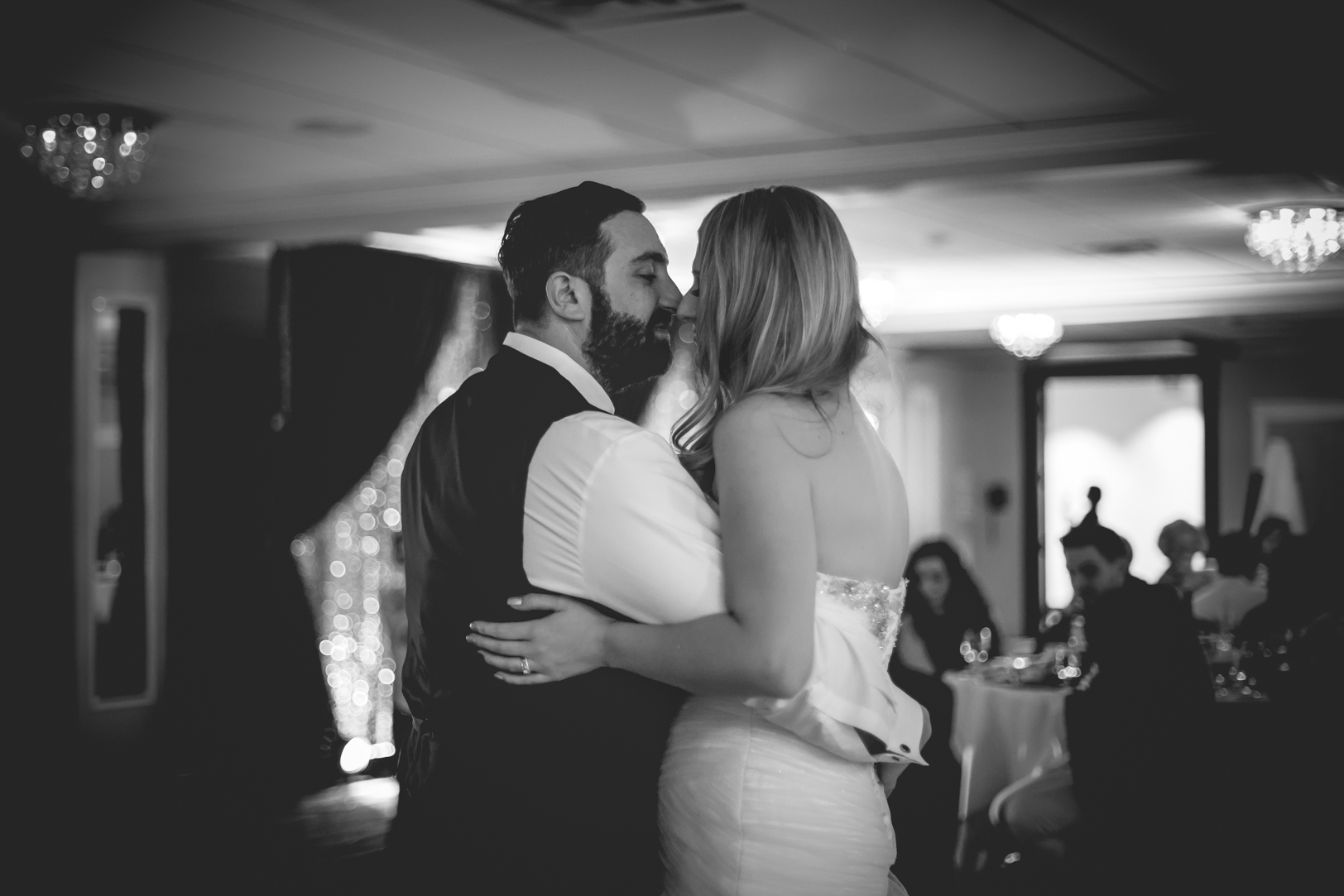 black and white first dance photo
