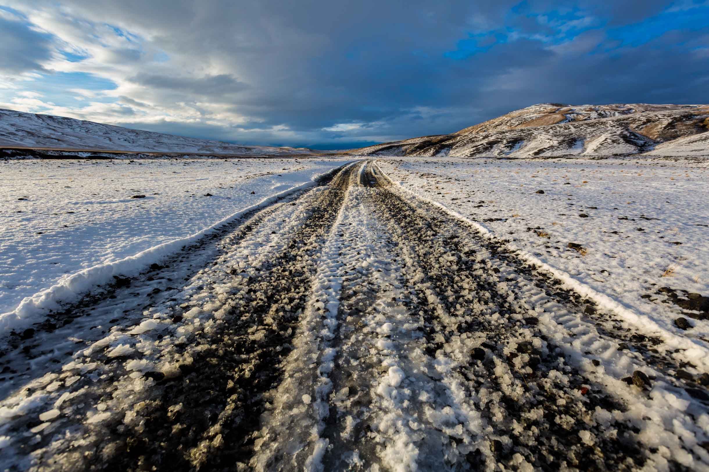 f-roads in iceland winter time