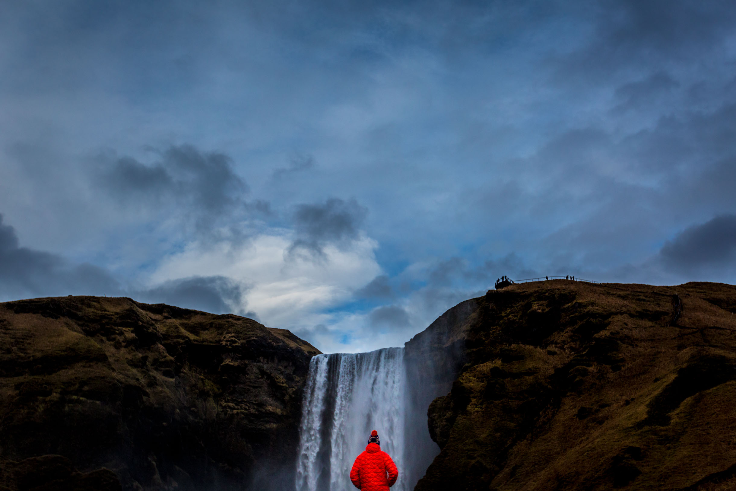 picture of the skogafoss waterfall while we were viewing the Southern Iceland Waterfalls