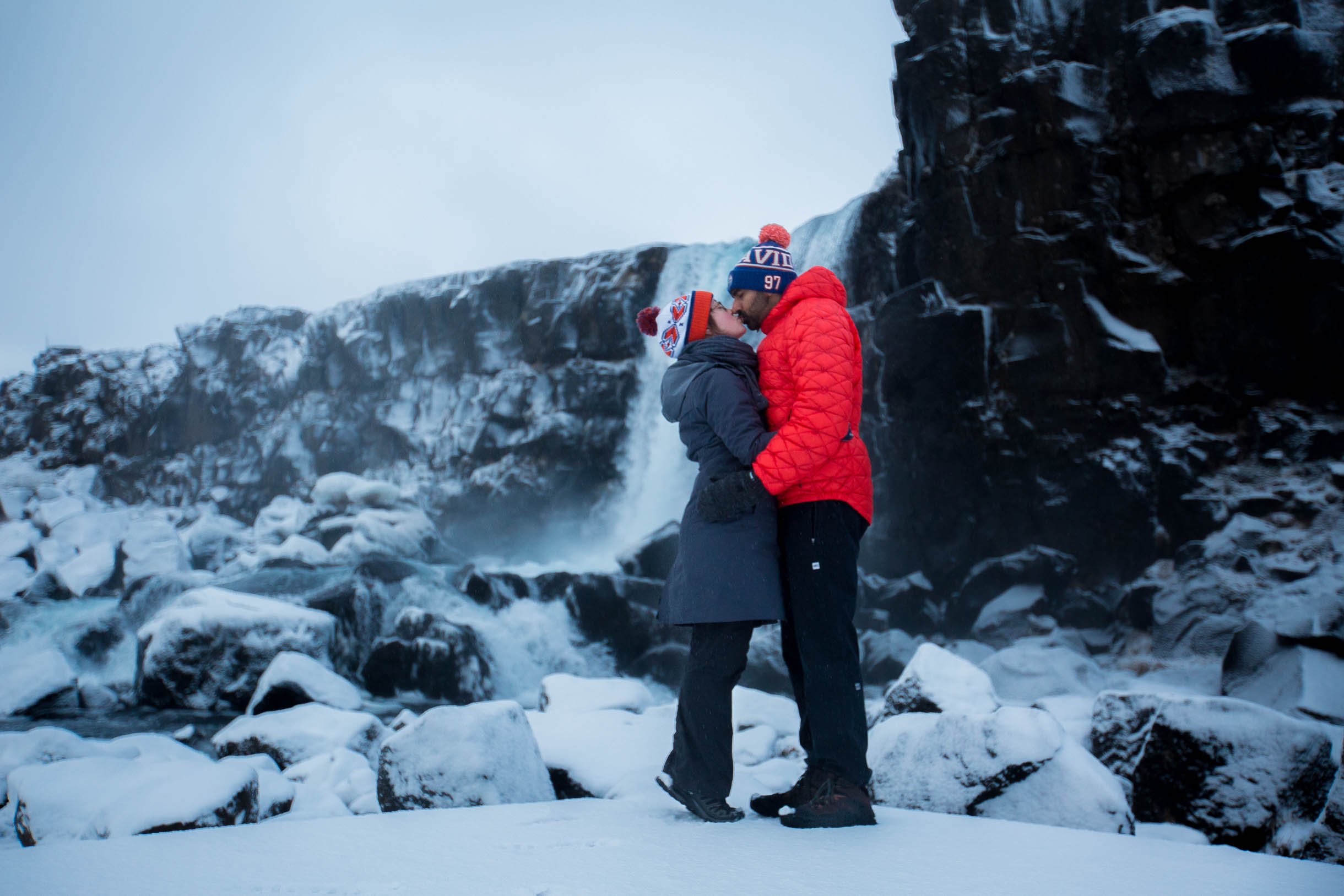 Thingvellir National Park waterfall oxarafoss winter