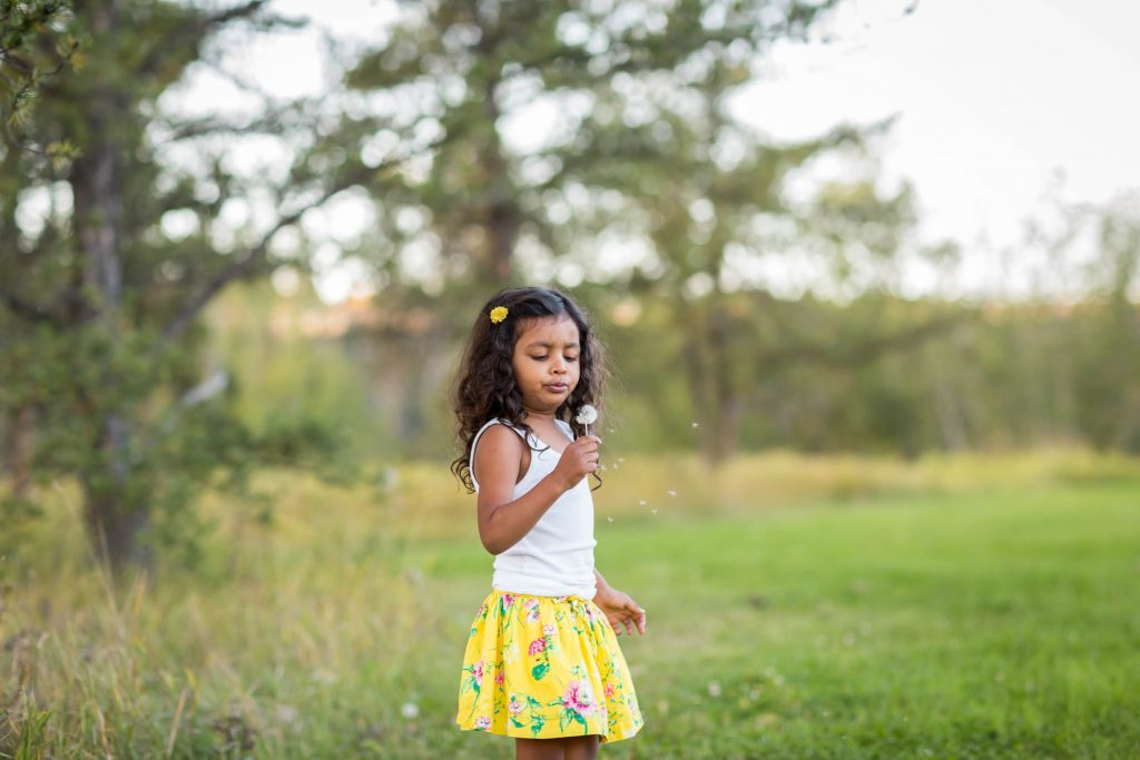 Picture of young girl with dandelion