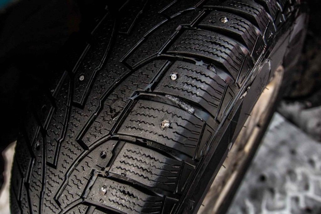 picture of studded tires for winter driving in Iceland