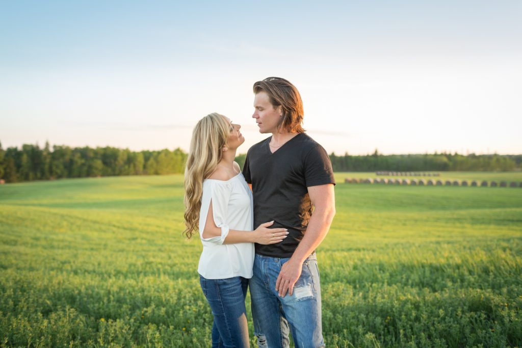 Sunset engagement portrait in the country