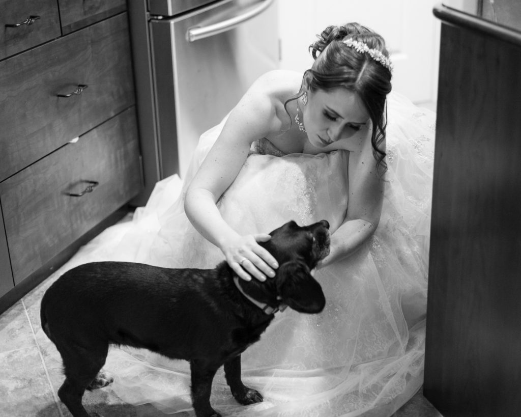Bride and her dog before the wedding