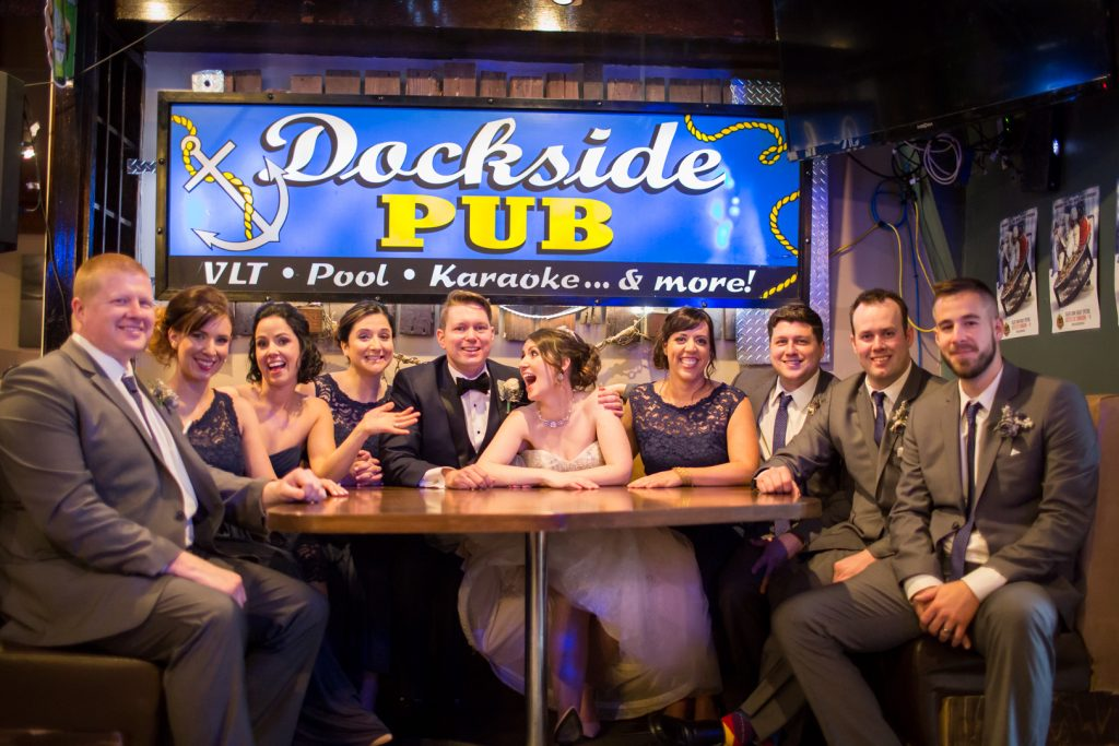 Wedding party photos at Dockside Pub in Edmonton