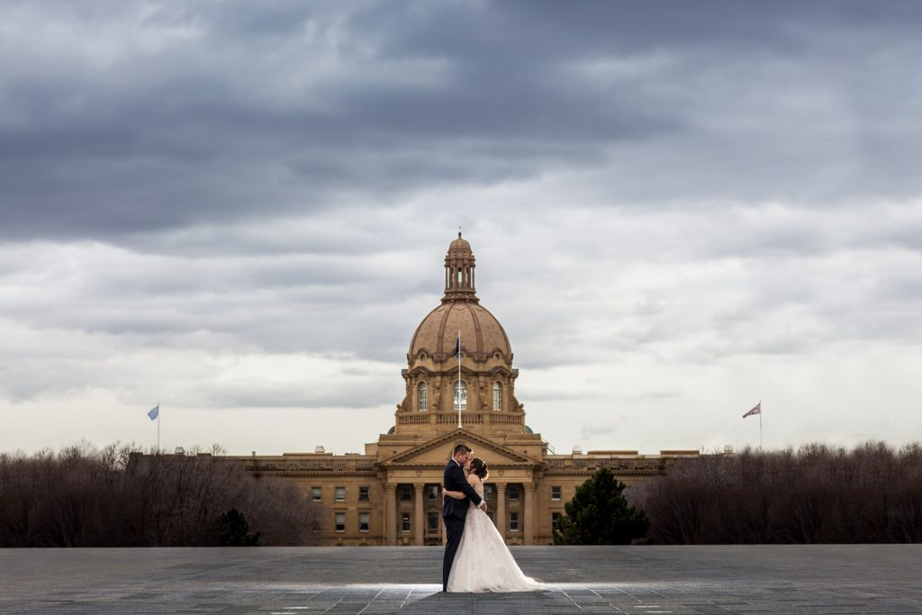 Wedding portraits at the Alberta Legislature building