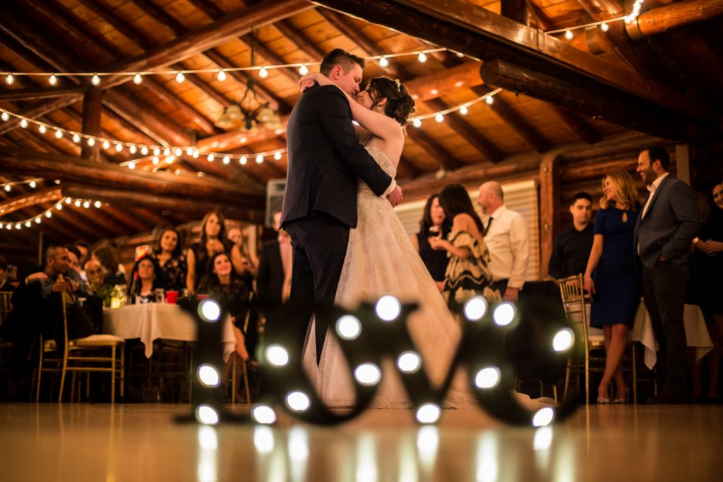 First dance with marquee lights