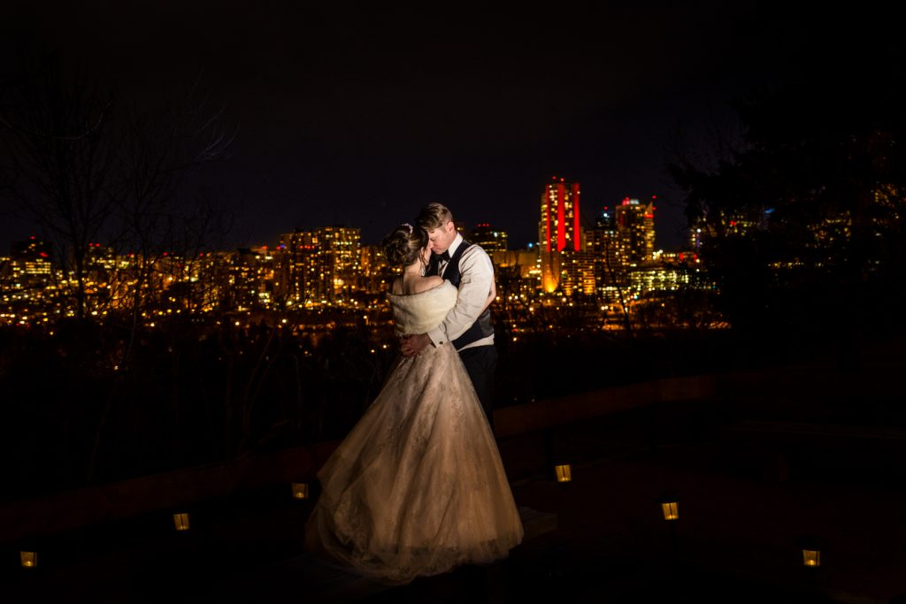 Downtown Edmonton night time wedding portraits
