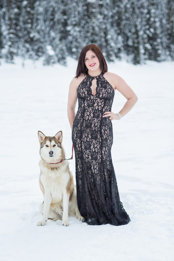 winter mountain engagement photos - with dog