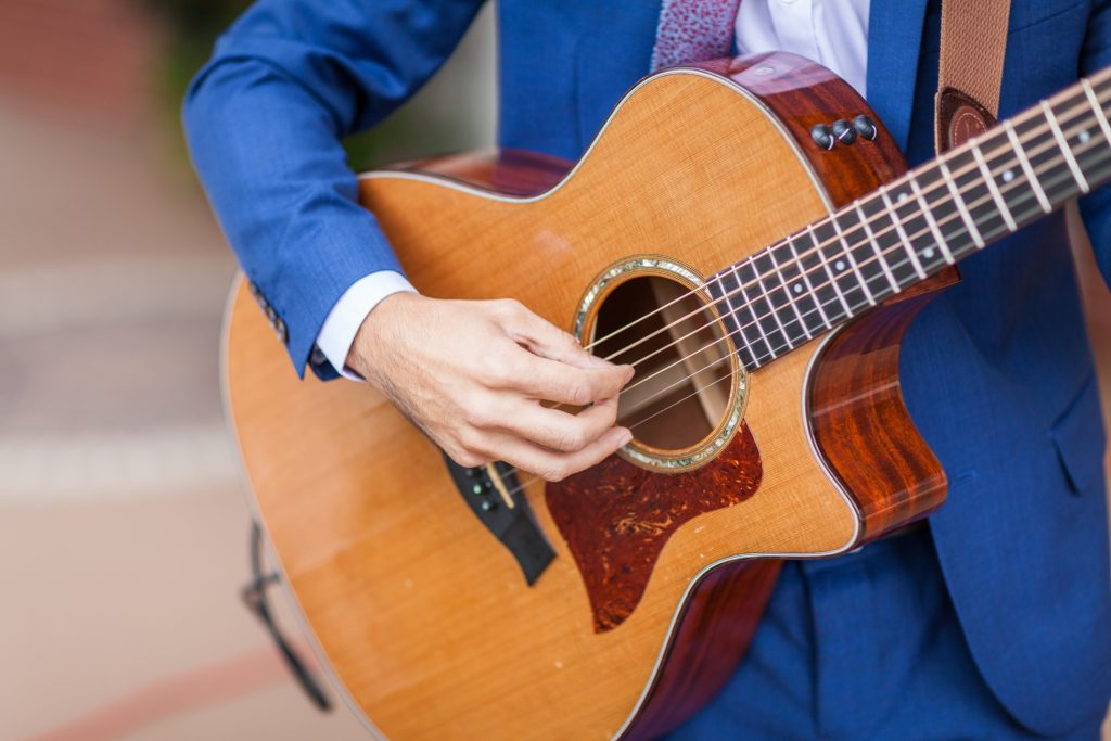 Live guitar player outdoor wedding ceremony edmonton