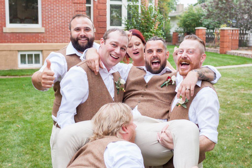 crazy groomsmen photo