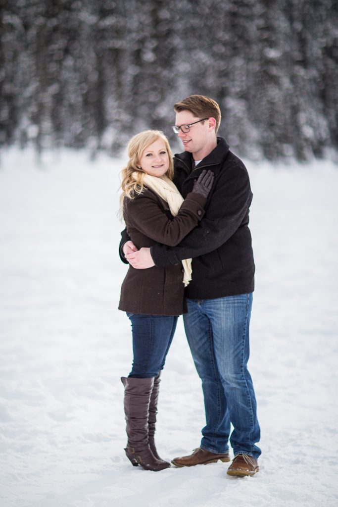 lake lousie winter engagement photos