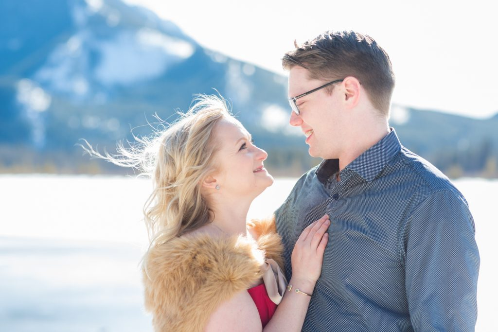 vermillion lakes winter engagement photos