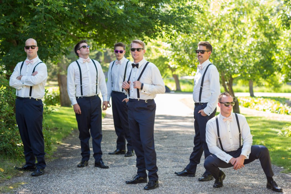 Groomsmen wedding portraits at U of A Botanic Garden