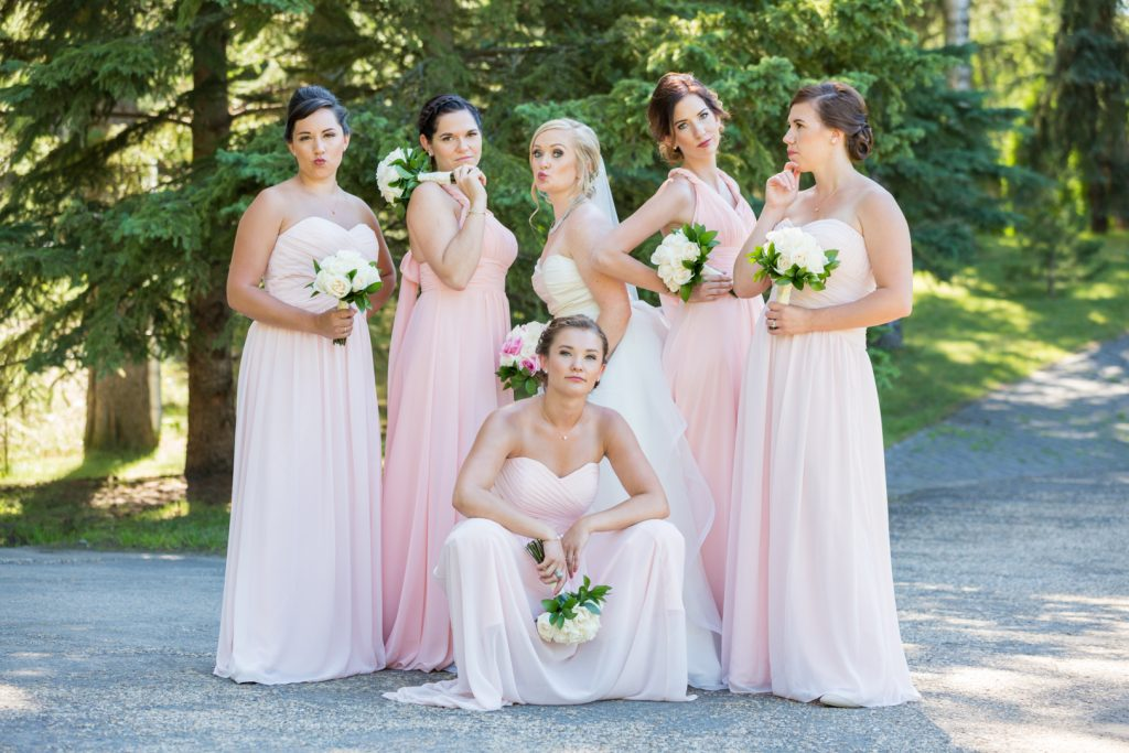 Edmonton botanic garden wedding party photos
