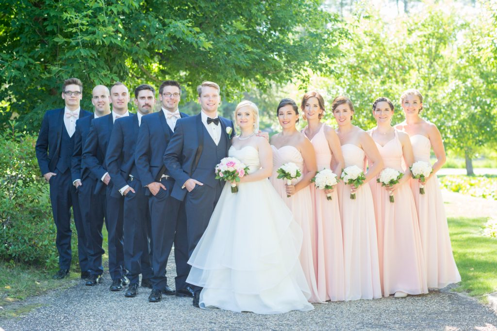 Wedding party photos at University of Alberta Botanic Garden