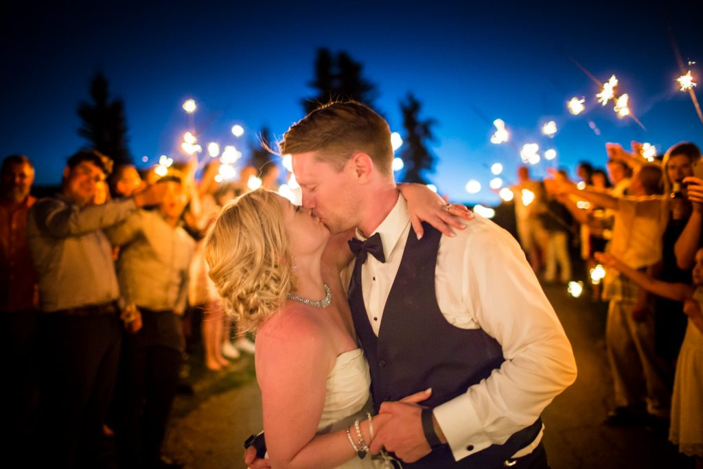 wedding photo with sparklers