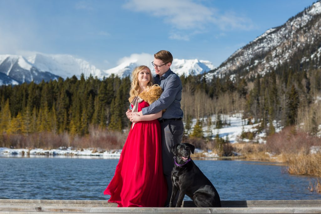 winter engagement photos in banff