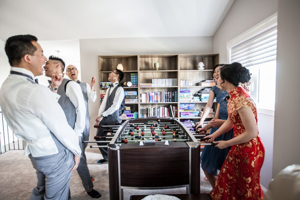 Pre wedding games with wedding party before the ceremony