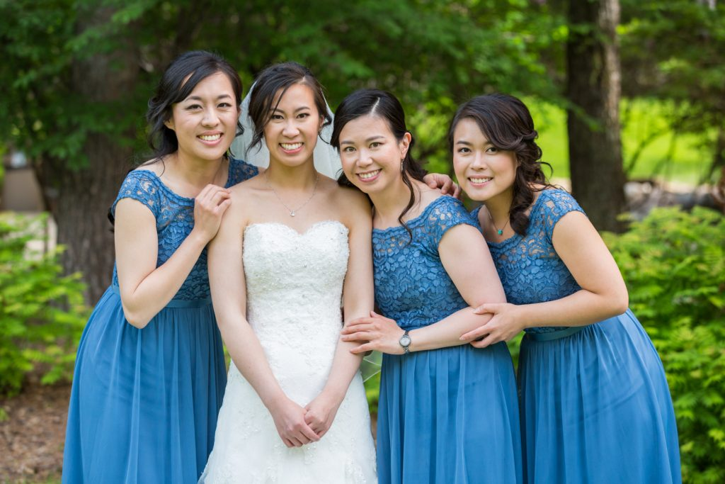 Bride and her three bridesmaids