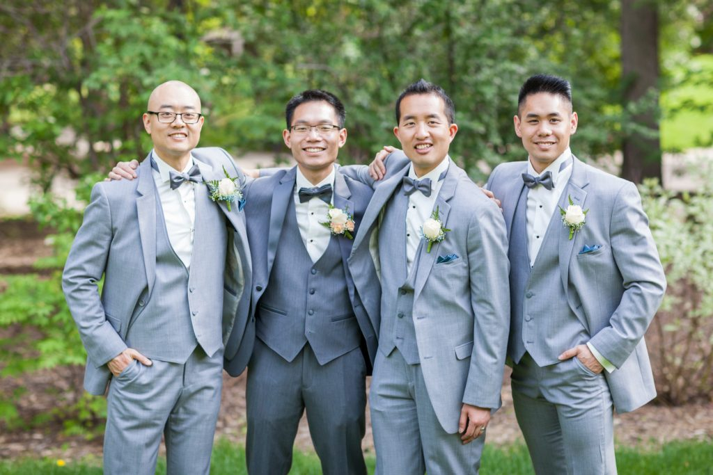 Casual portrait with the groom and his three groomsmen