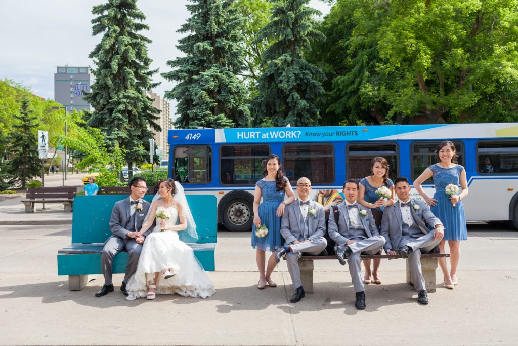 Edmonton HUB bus loop wedding portrait at the university of alberta