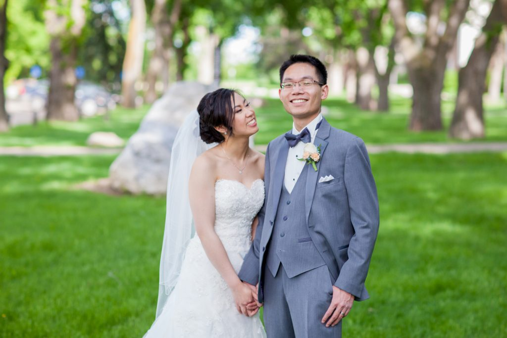 Outdoor wedding portraits taken at the university of alberta