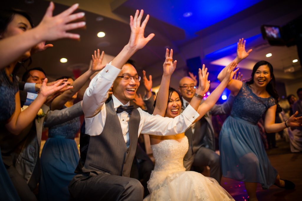 Epic wedding party flash mob dance during reception at Cha for Tea in Edmonton